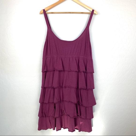 LOFT Dresses & Skirts - Loft purple ruffled knit sun dress xlarge